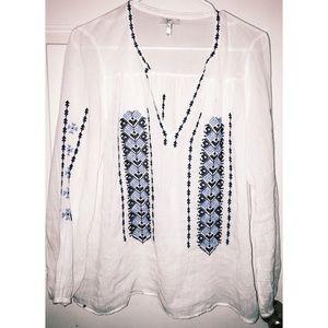 Joie boHo bohemian V-neck sheer blouse Sz L